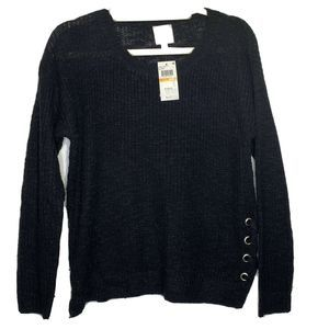Hippie Rose Black Pullover Sweater SZ S